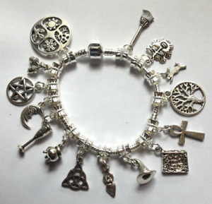 Hand made bracelet with 15 different charms & giftbag. Pagan, Witch. Wicca, goth