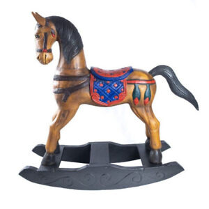 """Wooden Childs Rocking Horse 35"""" Hand Carved Home Decor."""