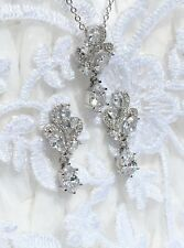 Bridal Wedding Silver CZ Clear Teardrop Earring Necklace Set Gift Boxed Prom