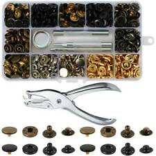 Heavy Duty Snap Fasteners 120 Sets Press Studs Kit Poppers Buttons Tools UK lskn