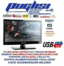 "TV LED 15 16"" POLLICI HD USB PLAY/REC HDMI 12V 220V AUTO CAMPER DVB-T2 SAT S2"