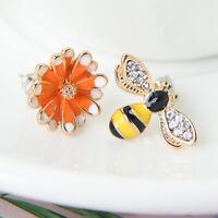 Fashion Bee Flower Asymmetrical Stud Earrings Enamel Ear Stud Women Girl Jewelry