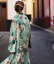 BNWT Zara Green Floral Printed Kimono Coat Dress XS #Belt Missing# ref 2416/641
