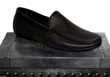 Basconi Black Leather Driving Moccasins Men's Net Design Shoes Sz US 12 EU