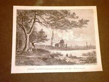 Gravure année 1873 La Rochelle La Tour de la Lanterne et l'entrée du port