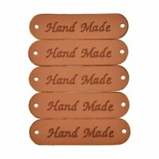 20Pcs Brown Synthetic Label Tags DIY Sew Craft Patch PU Leather Retro Handmade