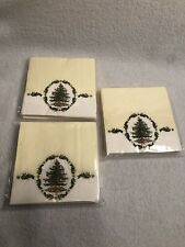 3 Packages SPODE Christmas Tree Cream Paper Cocktail Napkins 5 x 5 NEW