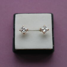 2.68Ct PERFECT PRINCESS CREATED DIAMOND 18K CHAMPAGNE GOLD EARRINGS IN GIFT BOX