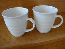 Solid White Ceramic Earthenware Large Coffee Soup Mug Cup 16oz By Versa Set of 2