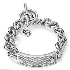 Michael Kors MKJ3608 Silver Pave Crystal Plaque Toggle Chain Bracelet MKJ3543710