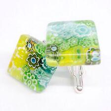 SOMA LINK 'Tropic' New Unique Square Glass & Silver Murano Millefiori Cufflinks