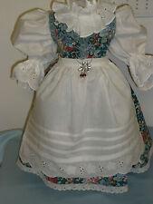 Puppenkleid antik Stil, Trachten Dirndel Schürze Landhaus Spitze Gr.65-70cm