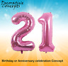 """Giant 21st Birthday Party 40"""" Foil Balloon Helium Air Decoration Age 21 PINK"""