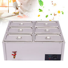 Electric Food Warmer 6-Pan Steam Table Steamer Bain-Marie Buffet Countertop New