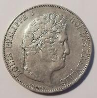 Très jolie Monnaie France Argent 5 Francs Louis Philippe I 1845 W - A SAISIR