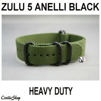 STRAPS WATCH NYLON BLACK 18mm 20mm 22mm 24mm MILITARY GREEN compatible ZULU