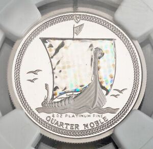 "1996, Isle of Man. Proof Platinum 1/4 Noble ""Hologram Sail"" Coin. NGC PF-68!"