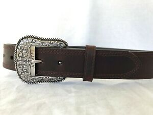 """ARIAT Men's 32"""" Brown Triple Stitch Leather Belt with Carved Buckle A10004631"""