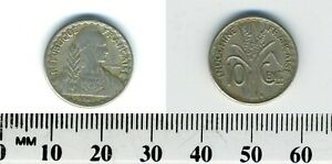 French Indo-China 1941 S - 10 Cents Copper-Nickel Coin - Bust holding laurel