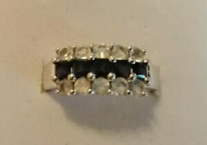 Sterling silver three row black & white gem stone ring size R/S
