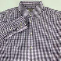 Armani Collezioni Mens Long Sleeve Modern Fit Shirt Siz 41 16 Purple Gingham