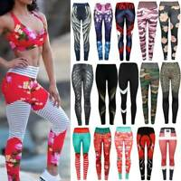 Womens Sports Yoga Pants High Waist Print Gym Fitness Leggings Stretch Trousers