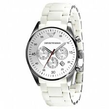 NEW EMPORIO ARMANI AR5859 WHITE MENS CHRONOGRAPH WATCH - 2 YEARS WARRANTY