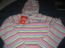 girls the North Face FULL ZIP HOODED FLEECE TOP  SIZE 18 XL STRIPE GLACIER  nwt