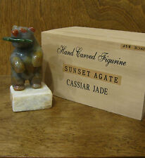 "Cassiar Jade CJ42  Hand Carved Sunset Agate Polar Bear w/ Jade Fish, NEW/Box 5"""