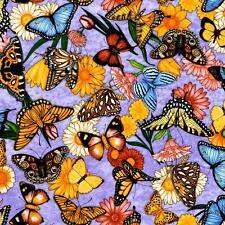 Dan Morris Spring Symphony Butterfly Purple Lavender Floral Rose Quilt Fabric 5B