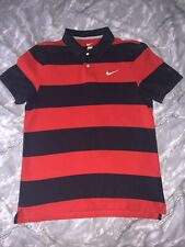 MENS Large Nike Polo Shirt Size Large Red/Blue Stripe VGC LOTS LISTED