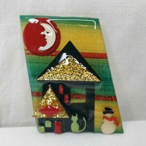 Vintage Christmas House Pin By Lucinda Snowman Cat Moon Red Gold Glitter Green