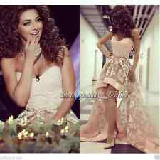 2016 Custom New High-Low Evening Prom Dress Tulle Appliques Party Gown Pageant