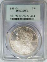 1888 O Silver Morgan Dollar PCGS MS 63 DMPL Deep Mirrors Doily PL DPL Coin