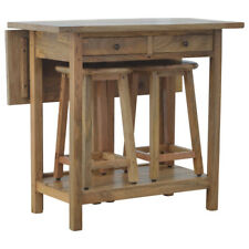 Handcrafted Solid Mango Wood Extendable Breakfast Table with 2 Stools Oak-ish