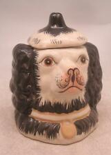 Staffordshire Pottery Figure - Black Dog Head Tobacco Jar with Lid