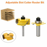 "Slot Cutter Router Bit 6 Cutter 1/2"" 1/4"" Shank Adjustable Rabbet Woodworking"