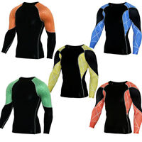 Men Running Athletic Workout T Shirts Sports Gym Long Sleeve Cool Dry Base Layer