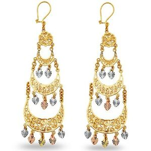 Hearts Chandelier Earrings 14k Yellow White Rose Gold Three Tiers Diamond Cut