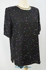 MIMI MATERNITY PEA IN POD Wedding 100% silk beaded cocktail top sexy tunic SZ M