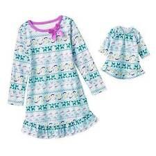 NWT Girls Fleece Winter Nightgown Size 6 Doll Gown Purple Pajamas Snowman Pjs