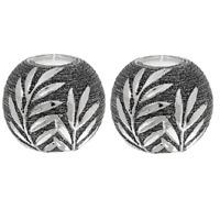 Pair Of Ceramic Gunmetal Balls Tealight Holder Decorative Ornaments Home Deco