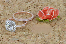 1.50 Ct Round VVS1 Diamond Engagement Rings Band Set 9K Solid Rose Gold Size N