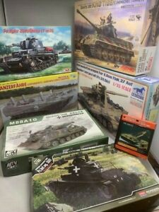 1/35   Huge  Deal, lot of German ww2  7 tanks including King tiger recovery +PE