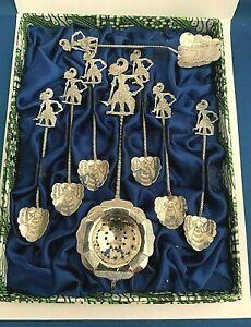Vintage Silver Tea Spoon Set of 8.  Siam Dancers in Original Box.