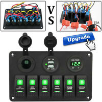 6 Gang Green LED Rocker Switch Panel Circuit Breaker 12V Boat Marine Waterproof
