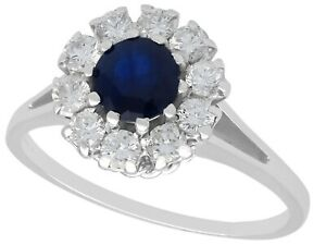 Antique 0.78 ct Sapphire and 0.74 ct Diamond 18k White Gold Dress Ring