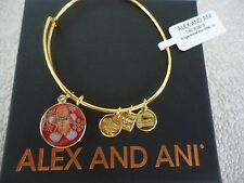 Alex and Ani GINGERBREAD MAN Shiny Gold Finish Bangle New W/Tag Card & Box
