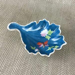Art Déco Portagioie Ciotola Mano Dipinto Farfalla Fiori Foglia Forma Porcellana