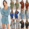 Womens Cross V-neck Sweater Dress Long Sleeve Tie Bodycon Pencil Knit Mini Dress